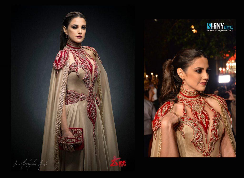Dorra Zarrouk dans une création signée Elghanja Haute Couture. JCC 2017